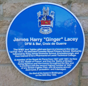 "Photo of the James Harry ""Ginger"" Lacey blue plaque - text below"