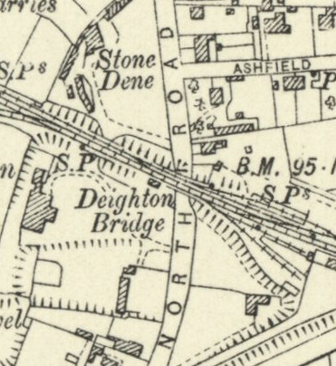 Map showing where stone Dene is on North Road
