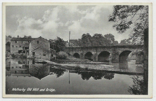 Old postcard showing mill and bridge