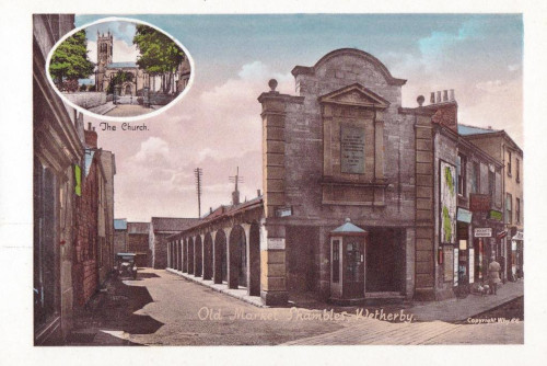 Old postcard showing the Shambles with an old telephone box and an inset of Wetherby Church
