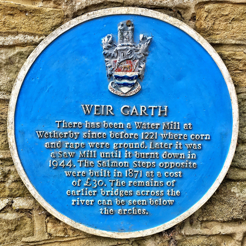 Photo of Weir Garth Plaque - text below