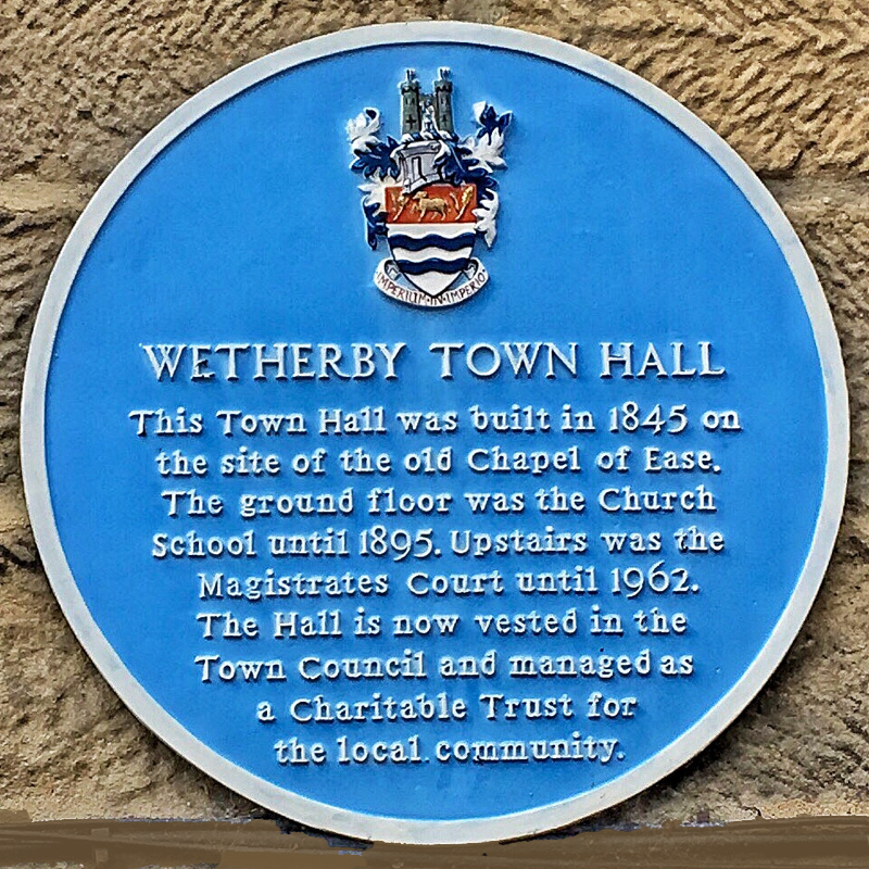 A photo of the Wetherby Town Hall plaque