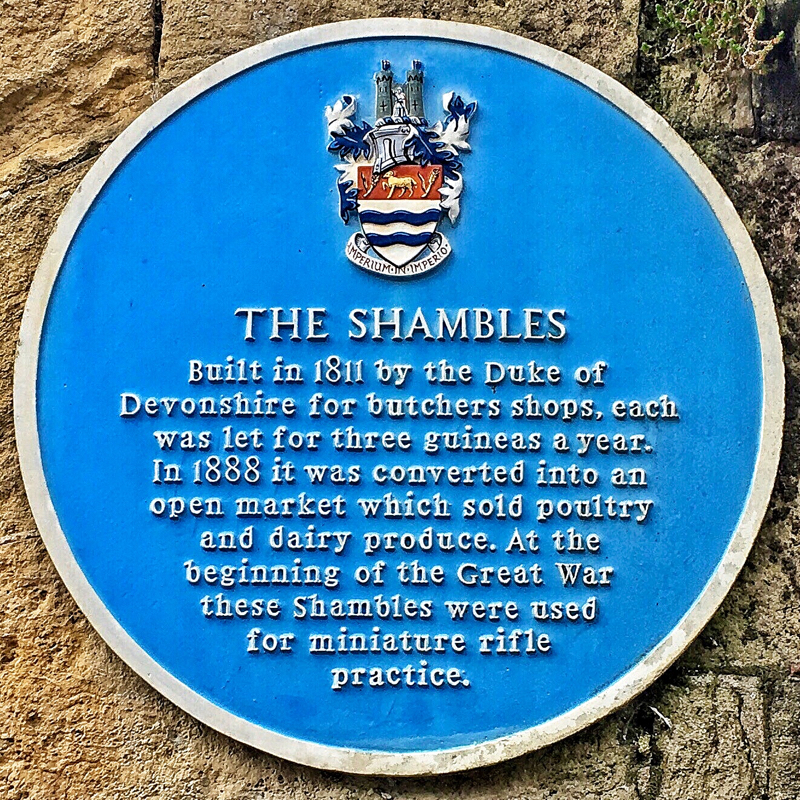 Photo of The Shambles plaque - text to follow