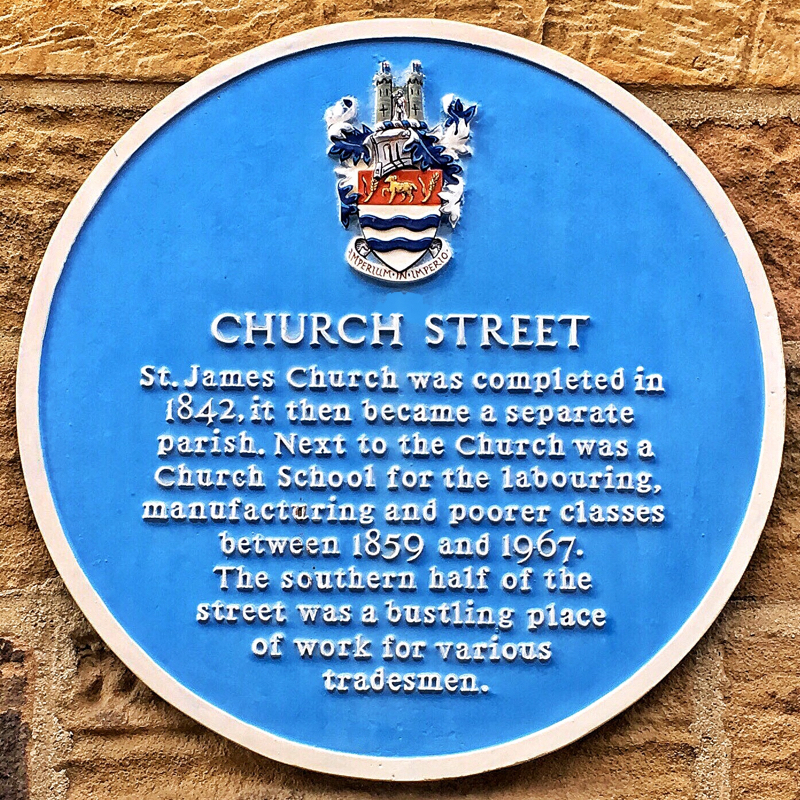 Photo of the Church Street plaque - text below