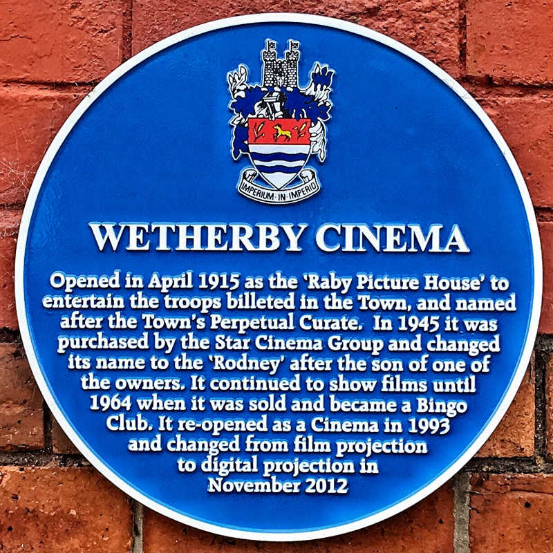 Blue plaque on the wetherby cinema