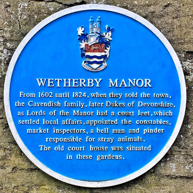 Photo of Wetherby Manor plaque - text below