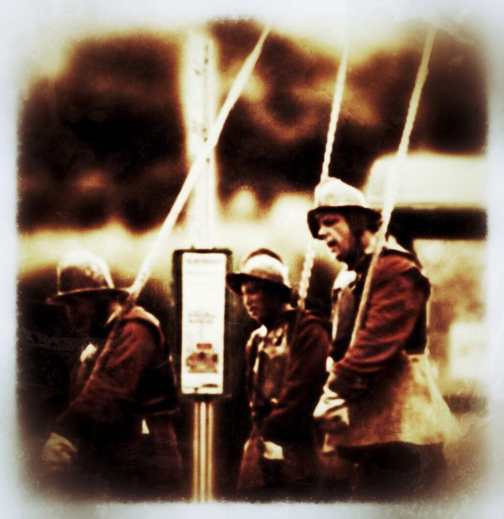 Spooky picture of civil war soldiers standing at a bus stop