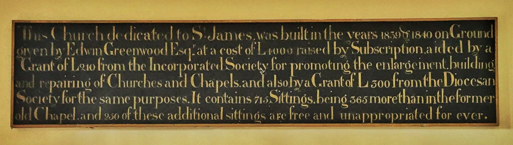 Photo of the plaque in the entrance porch