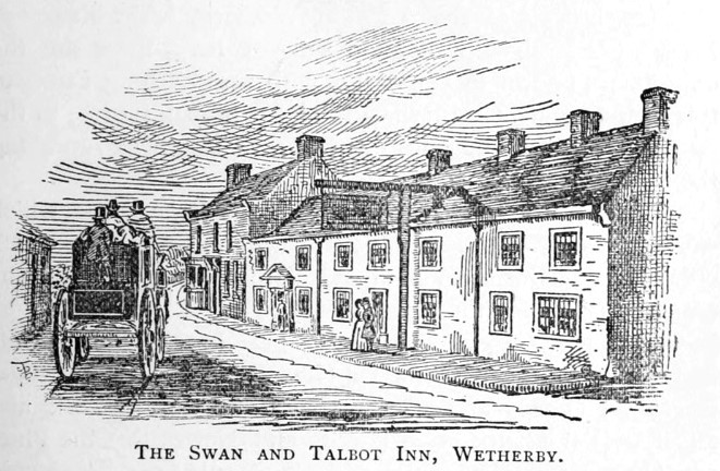 Old engraving of the Swan & Talbot Inn, Wetherby with coach and horses outside