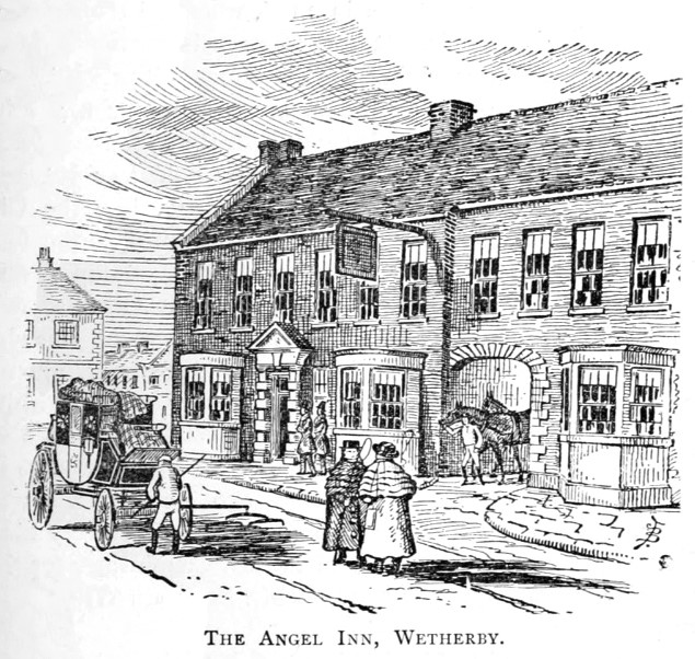 Old engraving of the Angel Inn with coach and horses outside