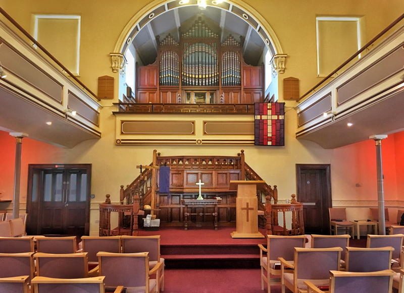 Interior photo of Wetherby Methodist Chapel in 2019