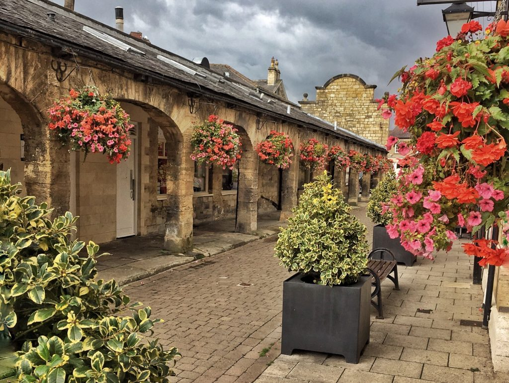 2018 photo of the shambles featuring hanging baskets