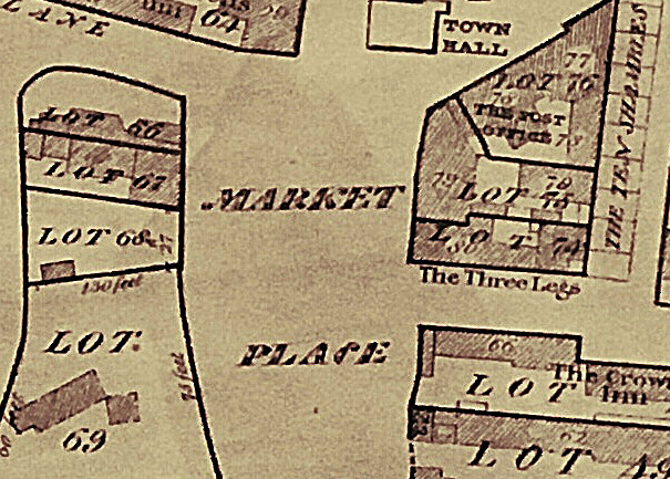 Great sale Map showing the old location of the three legs