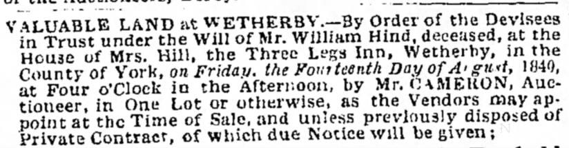 Leeds Mercury showing the planned auction of the pub