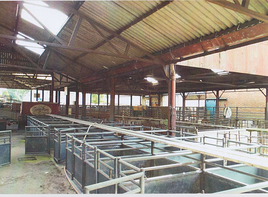 Part of the interior of Wetherby Cattle Market showing the livestock pens.