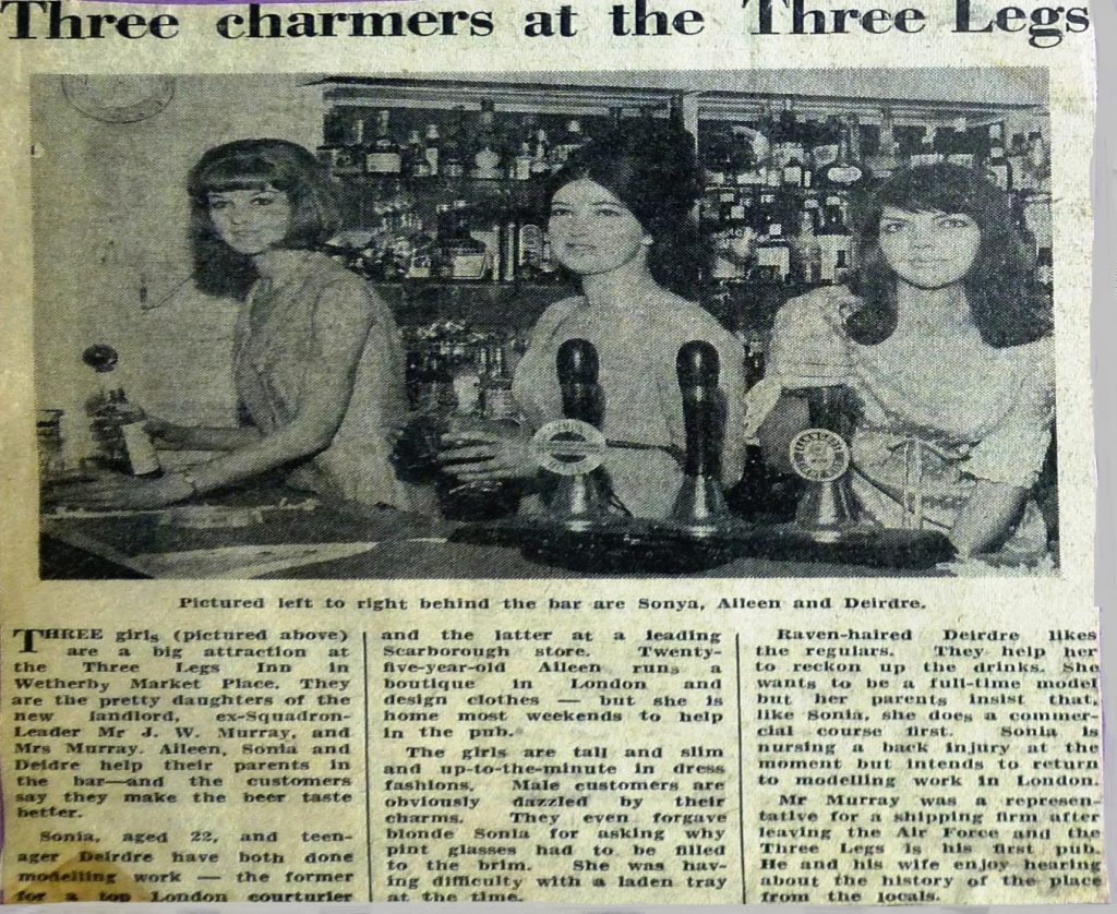 Landlords 3 daughters work behind the bar 1964