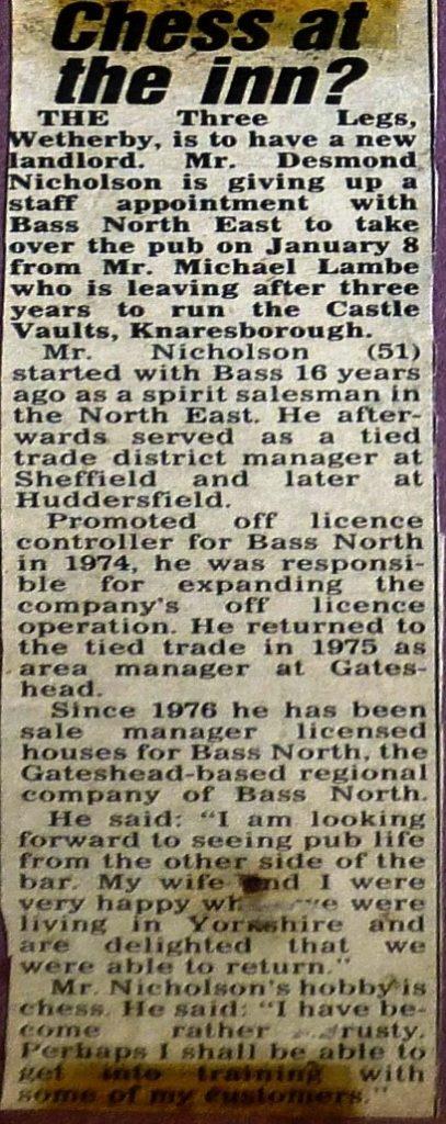 New landlord at Three Legs 1980