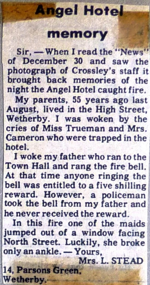 Wetherby News - Memories of fire at The Angel published in 1977