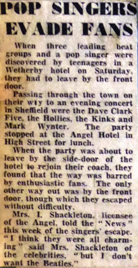 Wetherby News - Pop singers evade fans at Angel 1963 – 4