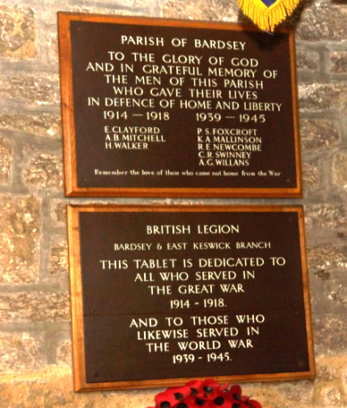 Bardsey Church Memorial Plaque Detail