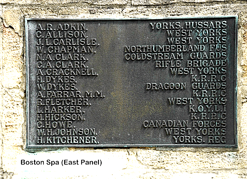 Boston Spa WW1 Roll of Honour 2