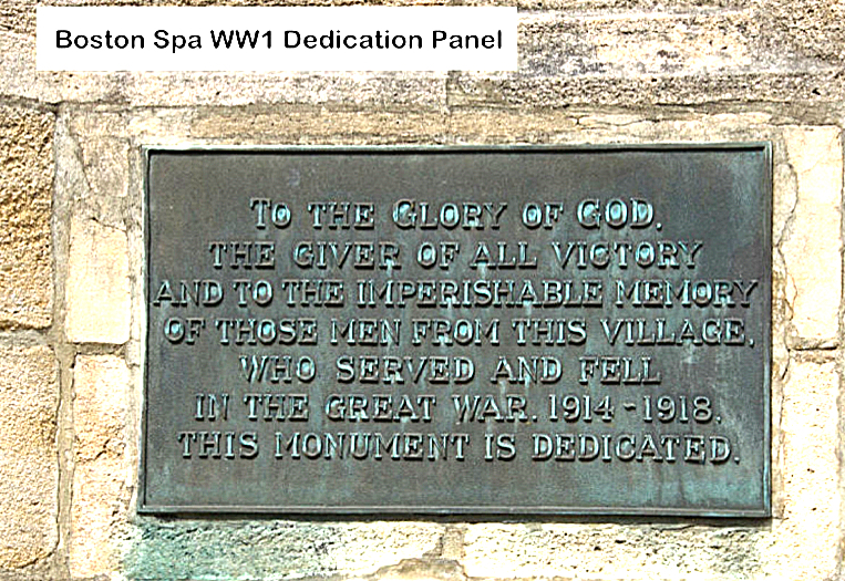 Boston Spa WW1 Dedication Panel