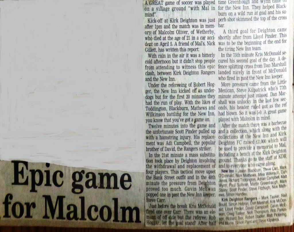 Charity football match in memory on Malcolm Oliver 1996  Wetherby News