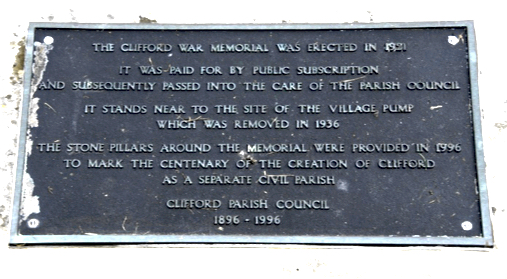 Clifford Memorial Plaque