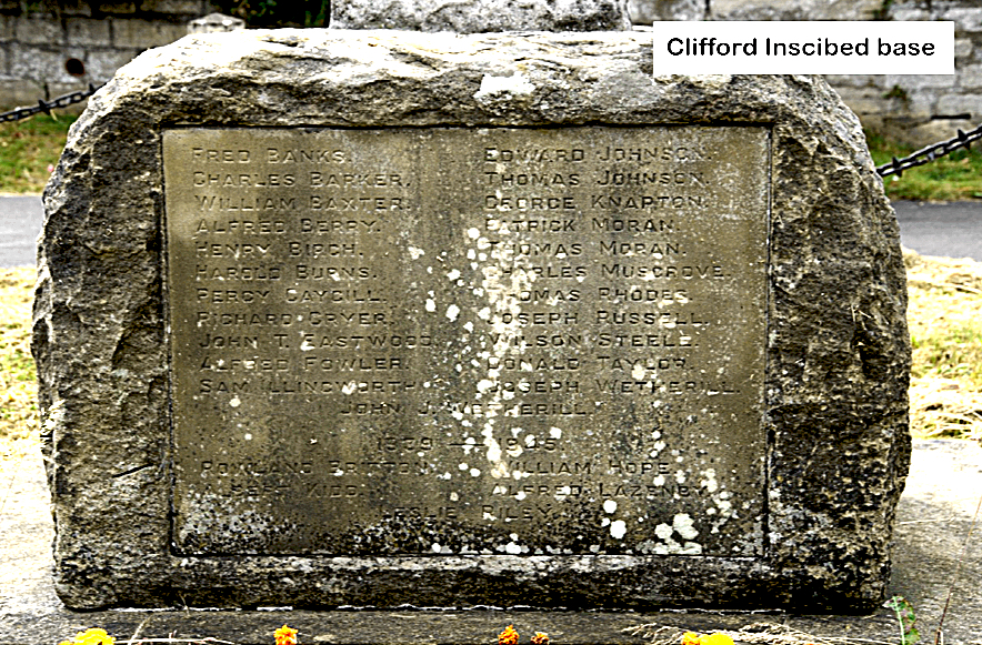 Clifford War Memorial inscribed base