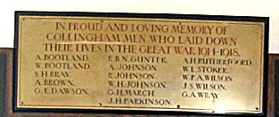Collingham WW1 Roll of Honour