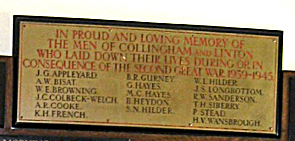 Collingham WW2 Roll of Honour