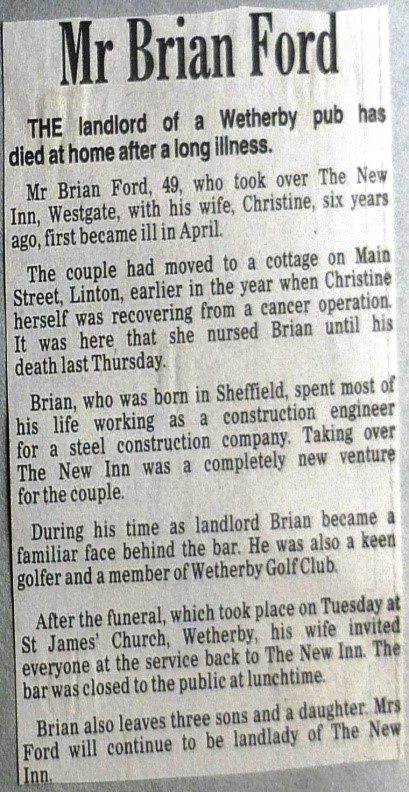 Landlord Brian Ford Obituary 1989  Wetherby News