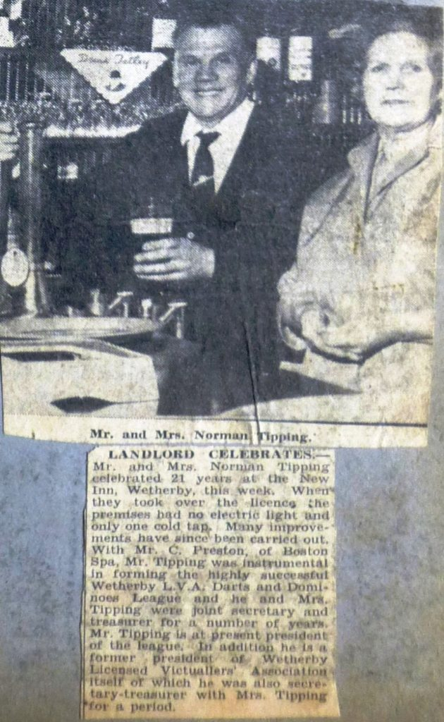 Landlord Norman Tipping celebrates 21 years at New Inn 1964  Wetherby News
