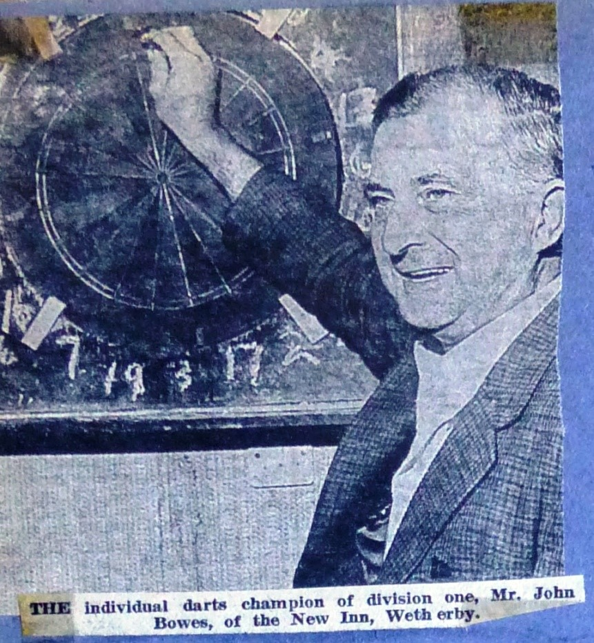 New Inn Darts Champion John Bowes 1976  Wetherby News