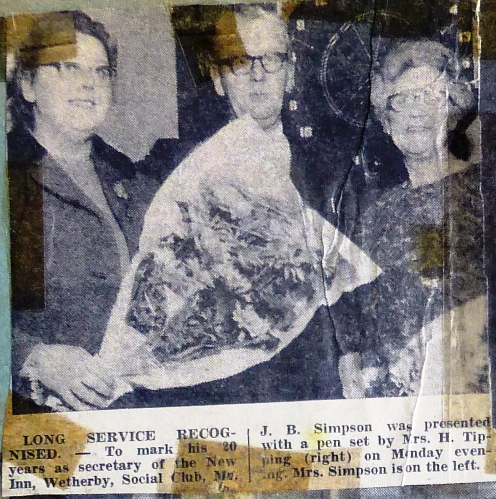 New Inn Social Club secretary marks 20 years of service 1971  Wetherby News