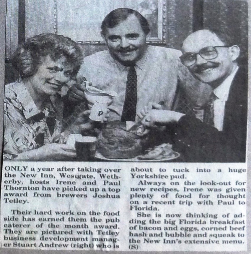 New Inn is Tetley's pub caterer of the month 1992  Wetherby News