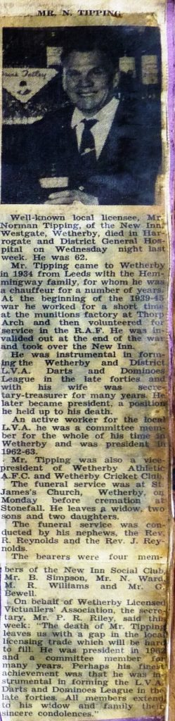 Norman Tipping obituary 1968  Wetherby News