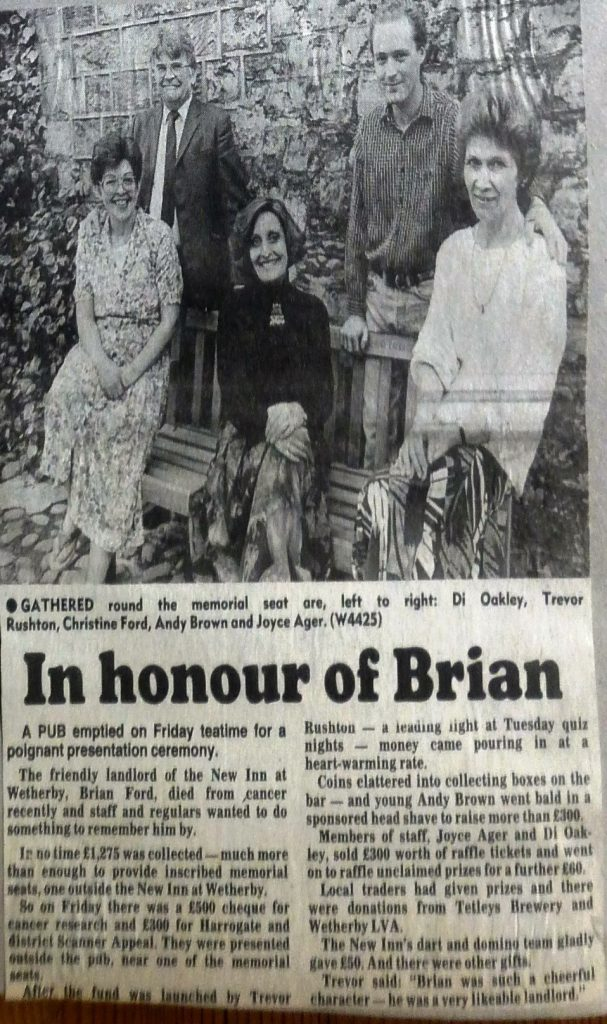 Seat dedicated to Brian Ford 1990  Wetherby News