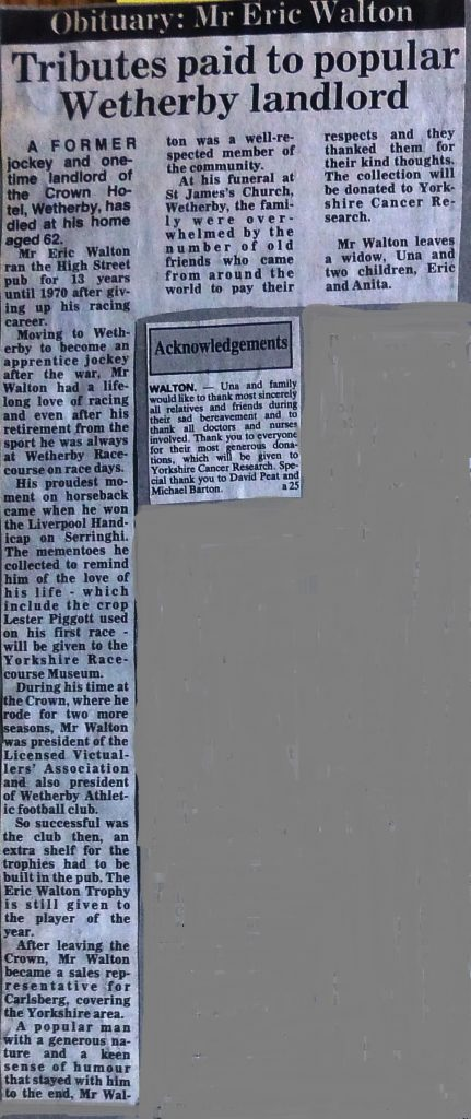Crown landlord Eric Walton obituary 1991