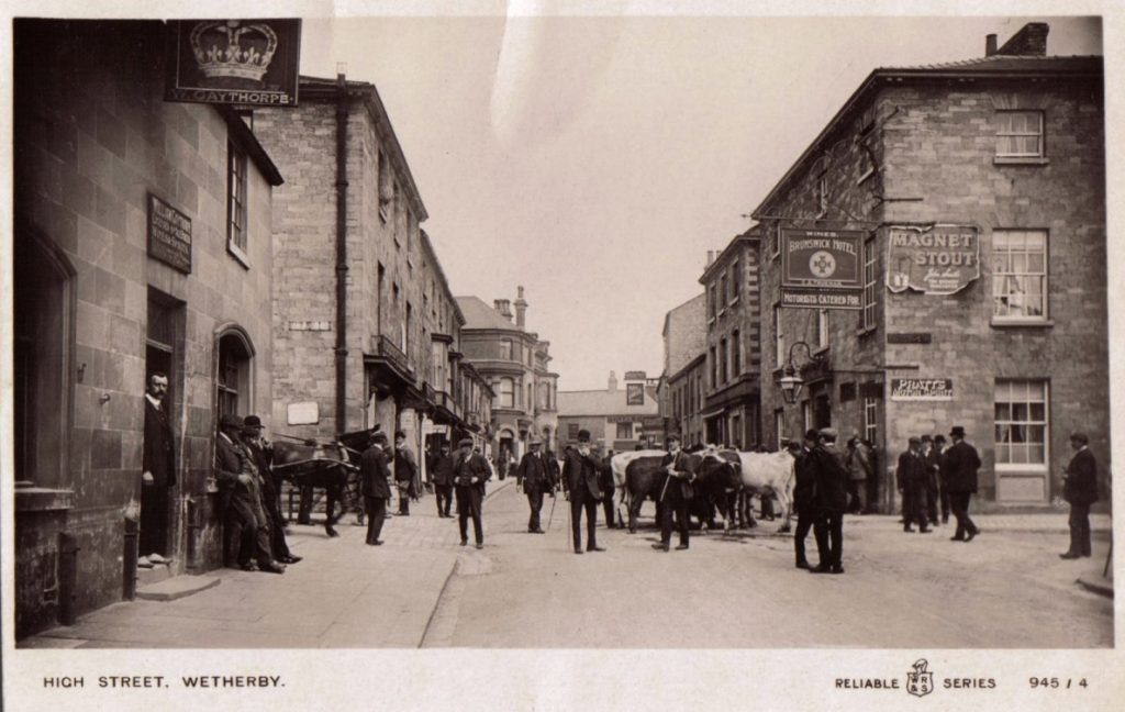 Crown Inn when cattle market was held on the Great North Road.