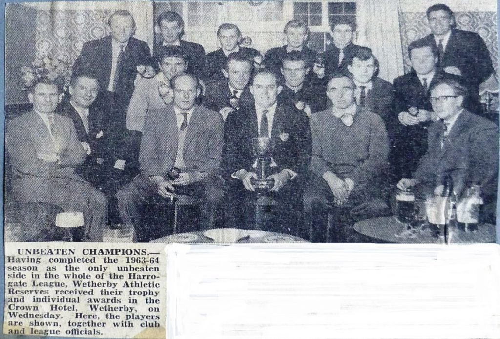 1963-4 Unbeaten Champions Wetherby Athletic at Crown Hotel