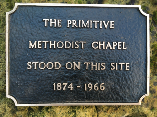 Picture of plaque marking the site of the Primitive Methodist Chapel 1874 - 1966