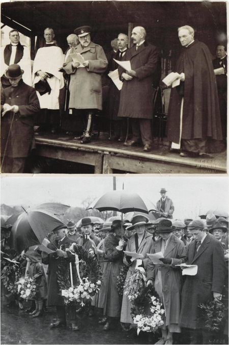 Two photographs taken at the dedication of Wetherby Bridge War Memorial