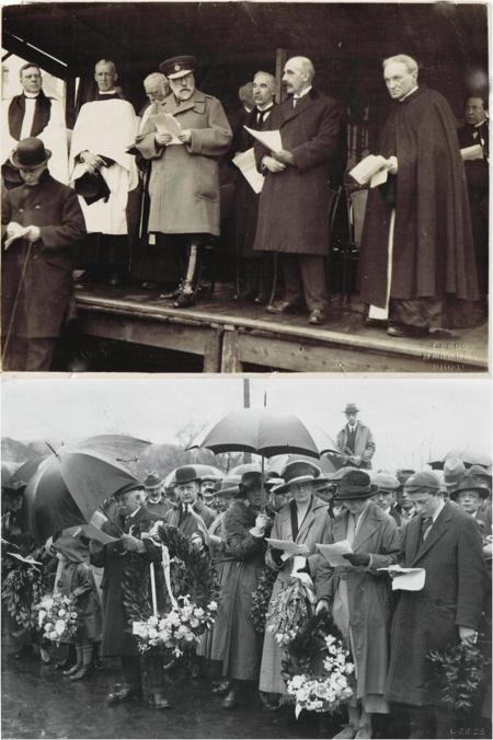 Two photographs taken at the dedication of Wetherby Bridge War Memorial