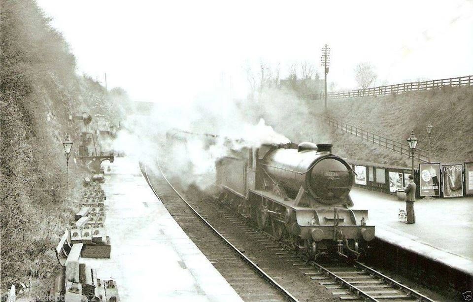 """""""The Bramham Moor"""" arriving at Wetherby Station in 1952"""